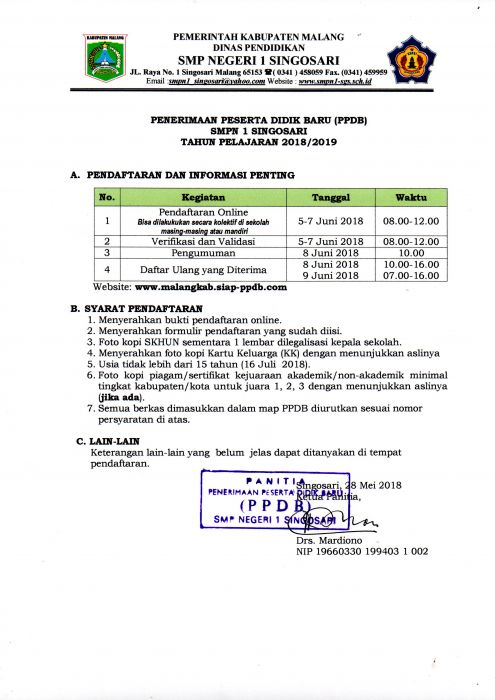 Penerimaan Peserta Didik Baru (PPDB) SMP Negeri 1 Singosari Tahun Pelajaran 2018/2019