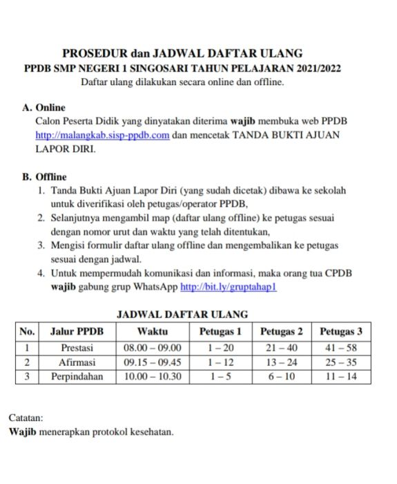 PENGUMUMAN HASIL SELEKSI PPDB TAHAP 1 TAHUN PELAJARAN 2021/2022