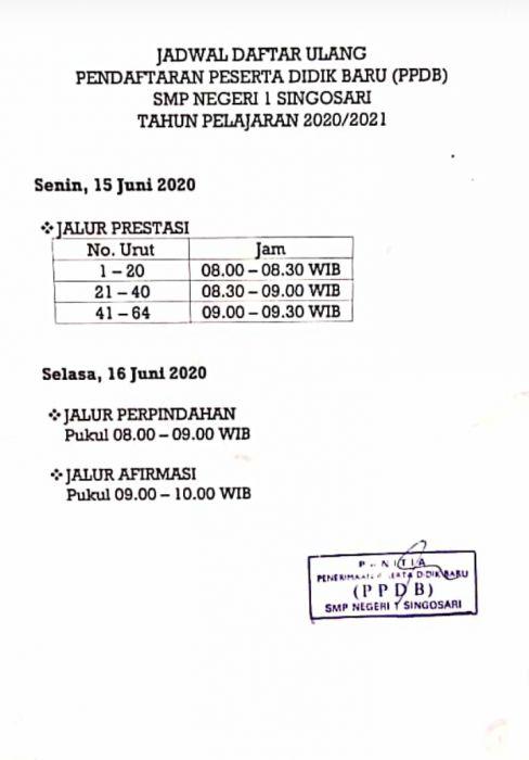 JADWAL DAFTAR ULANG PPDB SMPN 1 SINGOSARI 2020/2021