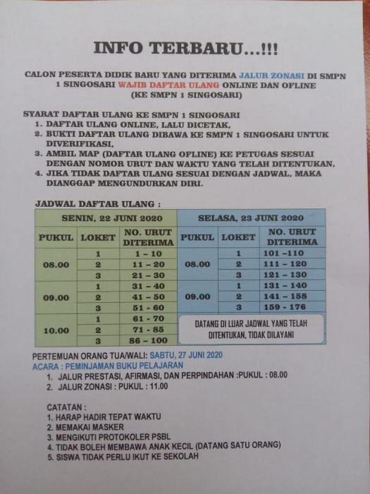 JADWAL DAFTAR ULANG JALUR ZONASI SMPN 1 SINGOSARI 2020/2021